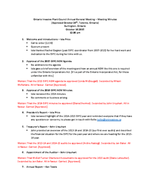 OIPC 2015 AGM Approved Minutes