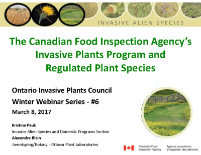 The CFIA's Invasive Plants Program and Regulated Plant Species