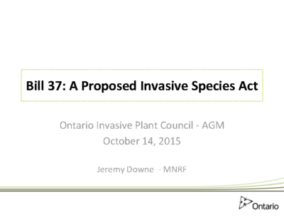 Bill 37: A proposed Invasive Species Act