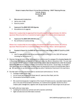 OIPC AGM 2016 Draft Minutes
