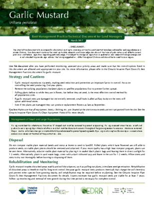 Garlic Mustard Technical Bulletin