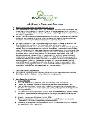 OIPC Executive Director Job Description