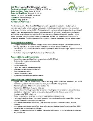 Invasive Plant Outreach Liaison Job Ad