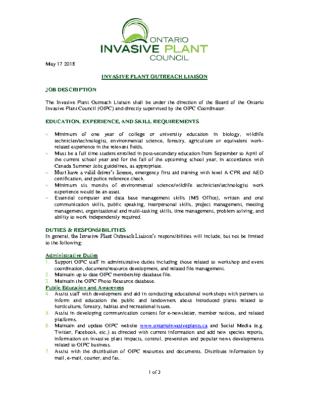 Invasive Plant Outreach Liaison Job Description