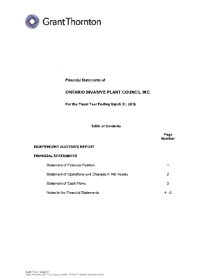 OIPC Financial statements – Year Ending March 31 2018