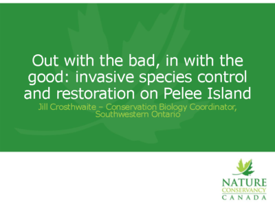 Out with the bad, in with the good invasive species control and restoration on Pelee Island